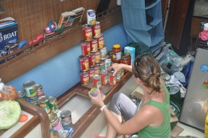 My mom taught me not to play with my food, but how can you resist building can castles when you have cans filling your living room?