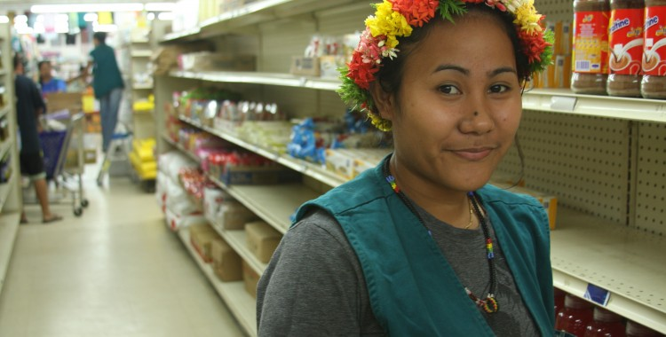 Michelle works at the grocery store.  She gave me her lei the first say I was exploring Yap.  We became friends.
