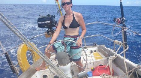 Me in my lavalava sailing back into Guam's Apra Harbor.  I wish I had pictures of Yapese women in lavalavas!