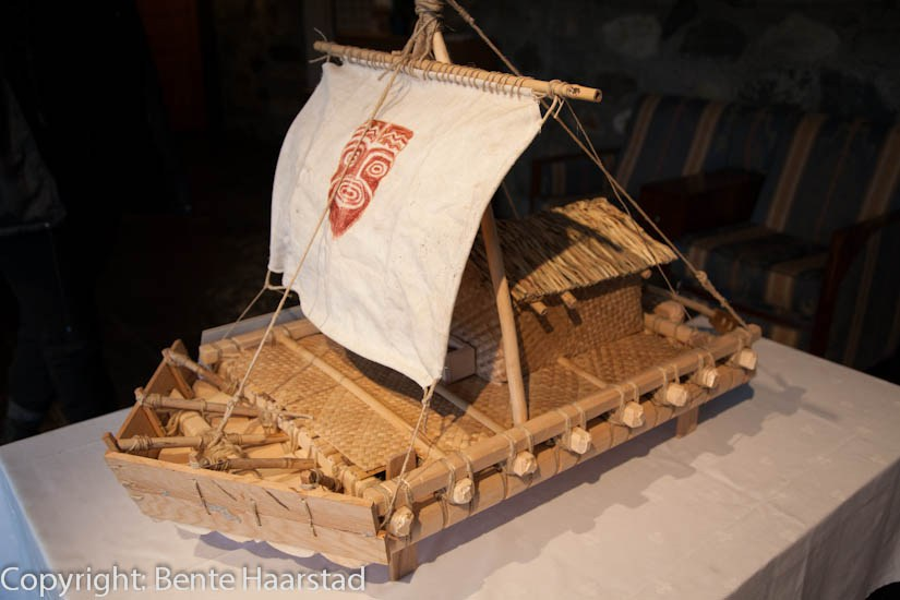 A small model of the Kon-Tiki raft