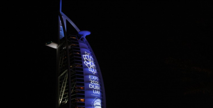 The Burj Al Arab lit for the Expo bid